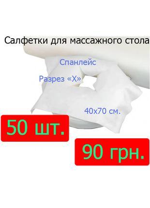 Одноразовые салфетки для массажного стола 35х40 см, отверстием X
