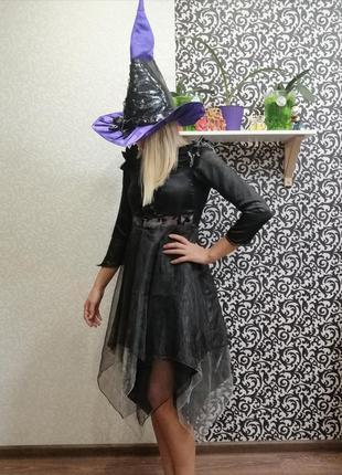 Карнавальный костюм хэллоуин ведьмочка колдунья