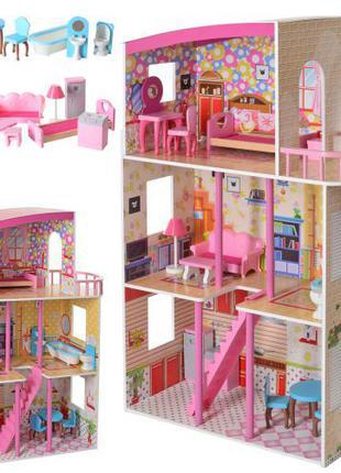 Деревянный трехэтажный домик для кукол с мебелью MD 2411