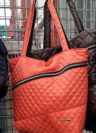 Сумка, женская сумка, оранжевая сумка, стеганная сумка, спорти...