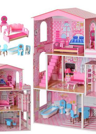 Деревянный трехэтажный домик для кукол с мебелью MD 2413