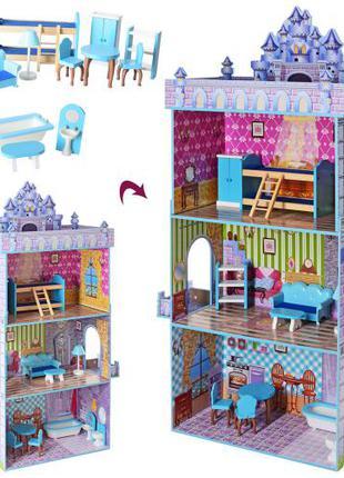 Деревянный трехэтажный домик для кукол с мебелью MD 2410