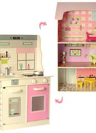 Деревянный трехэтажный домик-кухня для кукол MD 2578 с мебелью