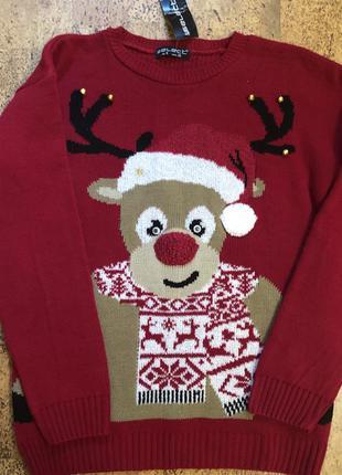 Женский новогодний свитер кофта красный на фотосессию с оленем