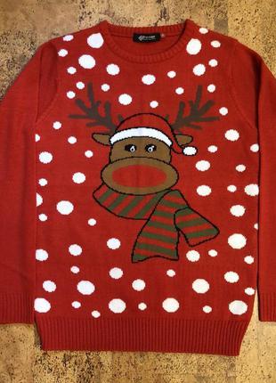 Мужской новогодний свитер кофта красный на фотосессию с оленем