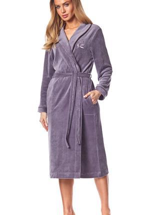 Женский длинный велюровый халат L&L (Польша)