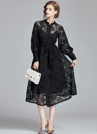 Нарядное, вечернее, кружевное платье миди