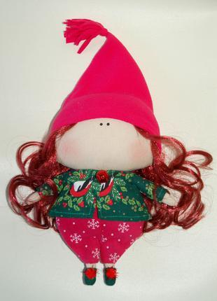 Интерьерная куколка гном подарок ручной работы