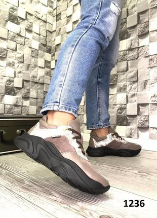 Эксклюзивные коричневые кроссовки из натуральной кожи