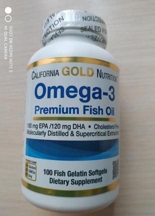 Омега 3, omega 3 рыбий жир премиального качества,100 шт, США