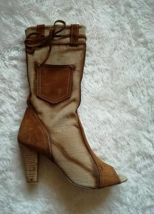 Сапоги натуральная кожа + парусина открытый носок р.38 (25 см)...