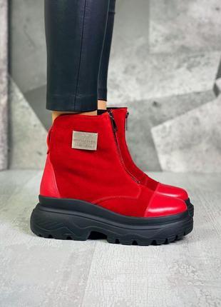 ❤ женские красные  кожаные зимние ботинки ботильоны ❤