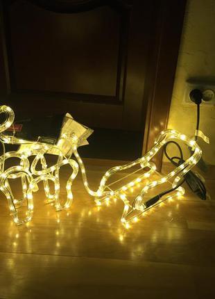 Новогодняя фигура ночник led melinera олень сани лось санки декор