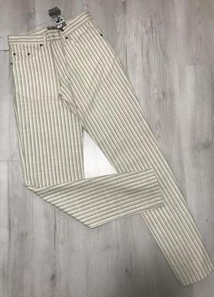 Белые мужские брюки semco в серую тонкую полоску 061 (30)