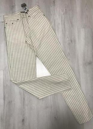 Белые мужские брюки semco в серую тонкую полоску 061 {31}