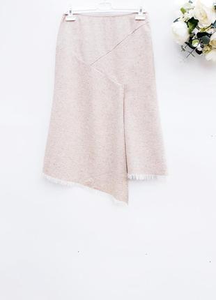 Стильная юбка миди шерстяная юбка с натуральным шелком