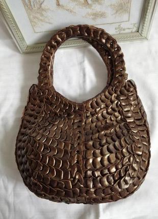 Кожаная плетеная сумка