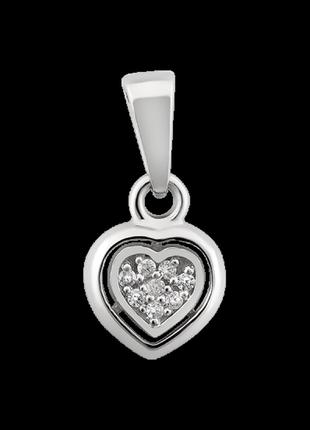 Подвес серебро 925 кулон сердце сд025