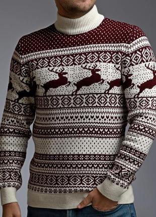 Трендовый теплый мужской свитер с оленями бело-бордовый всего ...