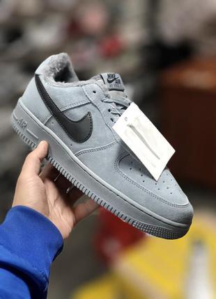 Серые мужские кроссовки с мехом nike air force