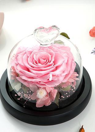 Стеклянная колба с розой Япония (роза в колбе) подарок 12,5х13,5