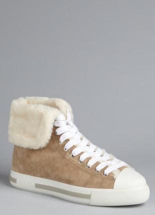 Prada оригинал италия теплые ботинки кеды хай топы с мехом