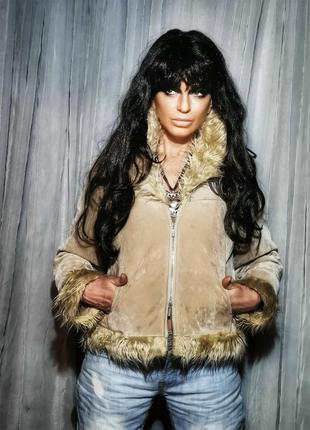 Куртка плюшевая с искусственным мехом на синтепоне молния деми...