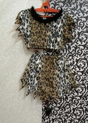 Карнавальный костюм леопард амазонка первобытная девочка