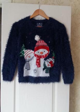Новогодний свитер травка, теплый на 10 лет TU