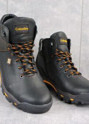 Мужские ботинки кожаные зимние черные Barzoni 330