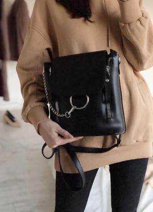 Женский базовый городской черный рюкзак трансформер сумка рюкз...