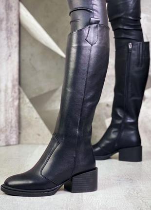 ❤ женские черные кожаные осенние демисезонные сапоги ❤