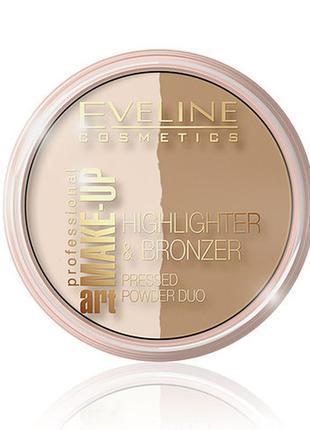 Хайлайтер + бронзатор пудровый 2в1 make - up professional