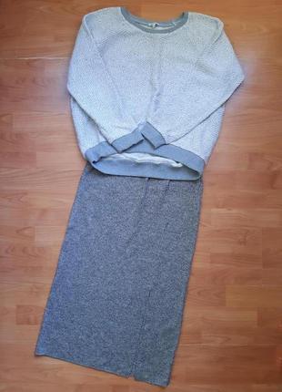 Трикотажная юбка и свитшот свободный