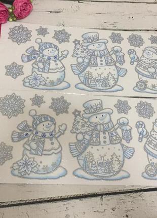 Новогодние большие многоразовые наклейки декор новый год melinera