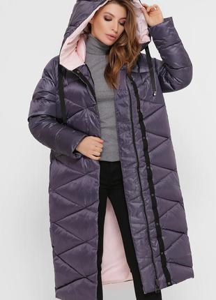 Длинная зимняя стеганая куртка
