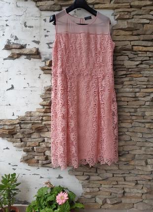 Шикарное пудровое кружевное платье 👗 большого размера