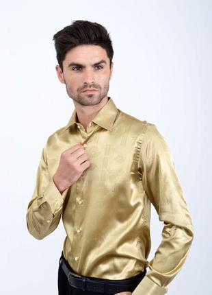 Мужская рубашка атласная  цвет шампанского
