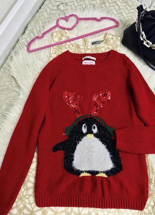 Красный новогодний свитер с пингвином (оленем) ❤️🎄 george
