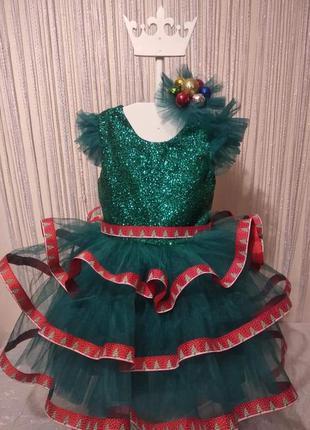 Новогоднее нсрядное платье елочка. плаття ялинка