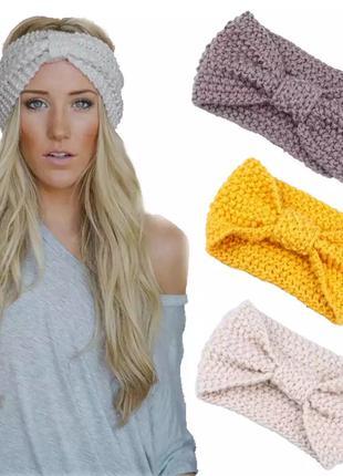Теплая повязка на голову женская-детская, 2 цвета, новая