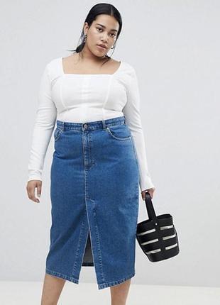 Джинсовая юбка карандаш с разрезом спереде