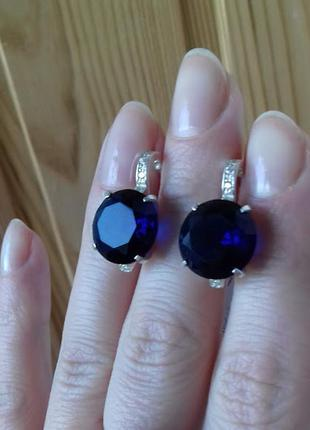 Серебряные серьги персия с синим камнем