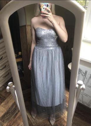 Новогоднее платье на фотосессию пайетки блестки фатин блестящие