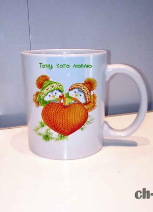 Чашка с принтом птички с сердечком