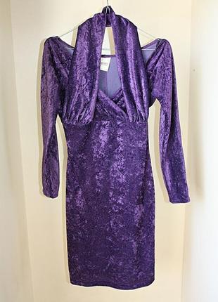 Винтажное бархатное платье велюр фиолетовое мини коктейльное н...