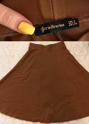 Распродажа!кофейная юбка stradivarius