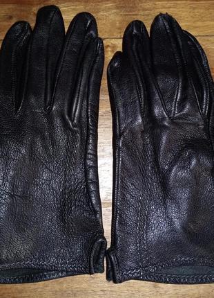 Кожаные, женские перчатки без подкладки