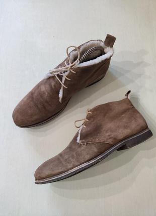Зимние замшевые ботинки на овчине, размер 39-40