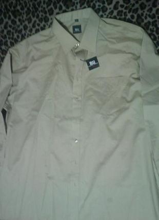 Бежевая мужская рубашка огромного размера ворот 49/50  укр 60....